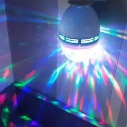 Lâmpada Giratória Led Globinho Luz Colorida - Grátis Bocal