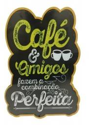 Placa Café & Amigos Mdf Adesivada