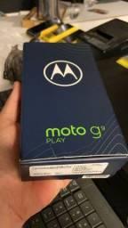 Moto G9 na caixa com nota