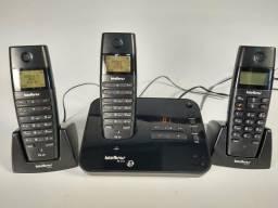 Telefone S/Fio com Secretaria Eletrônica e 2 Ramais