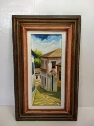 Antigo Quadro Pintado Casa Chica Da Silva Diamantina Mg 1982