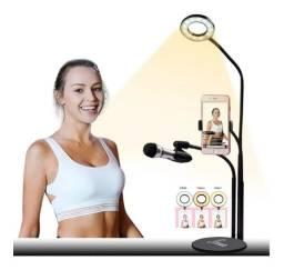 Suporte Audio E Video Com Ringlight Luz Controle Intensidade
