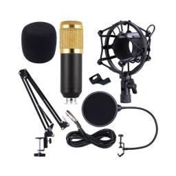Microfone Condensador De Estudio Profissional Podcast Knup, acompanha braço