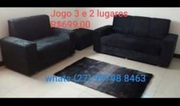 Jogo de sofás 3/2 lugares com puff grátis DIRETO DA FÁBRICA