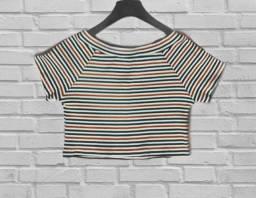 Camiseta cropped listrada anos 90 vintage