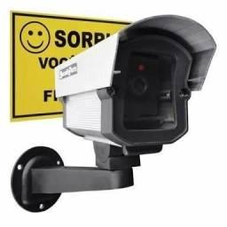 camera falsa de segurança com luz de led e placa de alerta sorria