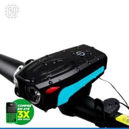 Título do anúncio: Lanterna Dianteira Com Buzina Speaker Bicycle Light Recarregável