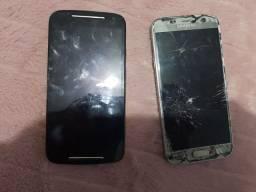 2 celulares com defeito na tela