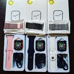 Smartwatch Iwo 12 Pro Maxx - Branco e Rosa + Pulseira Extra em Aço