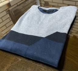 Suéter Azul Marinho e Cinza