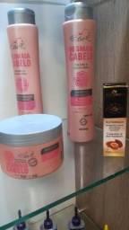 Shampoo, condicionador, máscara e óleo de argan