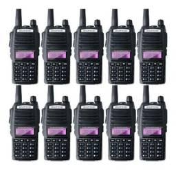 Kit 10 Rádio Ht Comunicador Baofeng Dual Band Uv-82 Rádio Fm