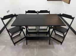 Jogo mesa de madeira de lei 1,20x0,70 com 4 cadeiras para bares e restaurantes