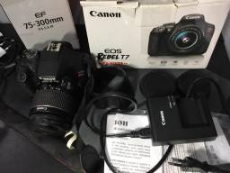 Câmera profissional Canon Rebel T7 + lente 75 - 300m