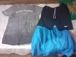Camisa masculina nova mais duas bermudas masculinas tam g e gg