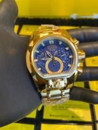 Relógio Zeus magnum azul banhado a ouro novo