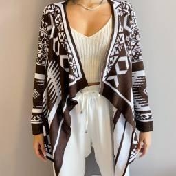 Cardigan casaco de tricot étnico