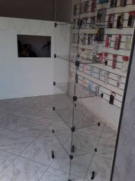 Vitrine de vidro tipo prateleira/expositor/estante preço só sabado