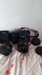 Câmera Canon T6 + lente 18-55mm e 50mm