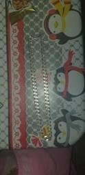 Cordão e dedante de prata