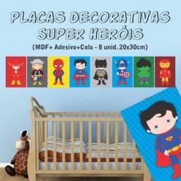 Placas Decorativas MDF Heróis Quarto Bebê Menino