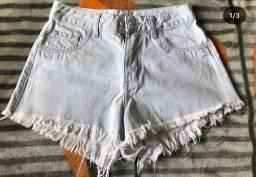 Shorts Jeans Claro Cravo e Rosa