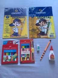 Kit Papel de desenho, lápis de cor, hidrocor etc.