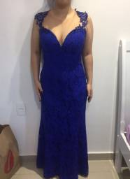 Vestido longo de festa azul
