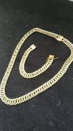 Kit Corrente e pulseira moeda antiga idêntica ouro 15mm