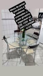 Linda mesa de jantar c/ prato giratório estrutura aço inox impecável