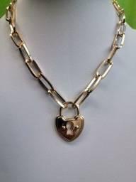 Cordão semi jóia cadeado colar e pulseira liquidação