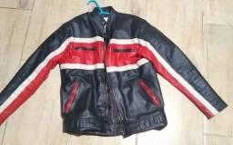 Jaqueta de moto em couro legítimo