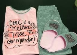Kit pijama e pantufa dia das mães