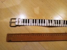 cinto vintage couro legitimo padrão de piano 100cm punk rock glam