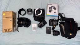 Câmera fotográfica NIKON D5100 + LENTE NIKON MACRO 105mm + FLASH CIRCULAR