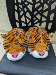 Pantufas nova de animal Tigre, pantufas de bichinho macia