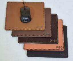 Título do anúncio: Kit Mousepad De Couro Costurado a mão PEG + Mouse Office - Loja Fisica Curitiba!