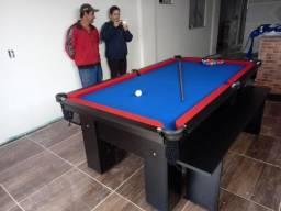 Mesa com Pedra de Ardósia | Mesa Preta | Tecido Azul | Borda Vermelha | Modelo: GDMV9172