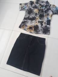Saia e blusa semi-nova