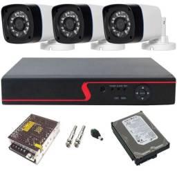 Kit 3 Câmeras de segurança completo para instalação