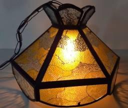 Antigo Lustre Teto Vitral Metal Luminária Retro Vintage Raro