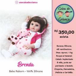 Bebê Boneca Reborn Brenda 100% silicone 48 cm