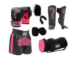 Kit Muay Thai Luva Caneleira Shorts Bolsa Bandagem Feminino