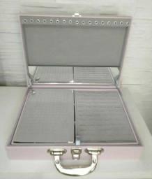 Porta jóias grande dupla camada na cor rosa chá com cinza