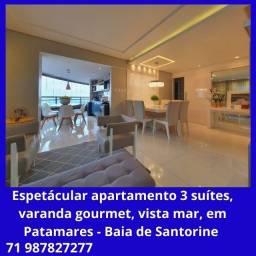 Apartamento 3 suítes, varanda gourmet, vista mar, em Patamares