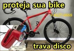 trava de segurança freio  a disco bicicleta