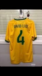 Camisa Titular Brasil 2014 - 4 - David Luiz - Tamanho G