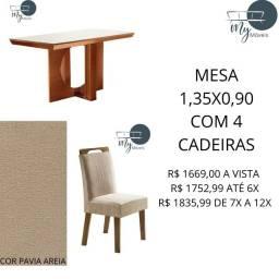 Conjuntos Sala de Jantar 1,35x0,90 com 4 cadeiras<br><br>