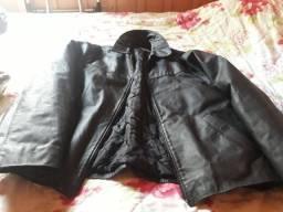 Jaqueta de couro legítimo tamanho grande