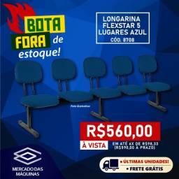 Título do anúncio: Cadeira Longarina Flexstar 5 lugares azul Queima de estoque Nova Frete Grátis